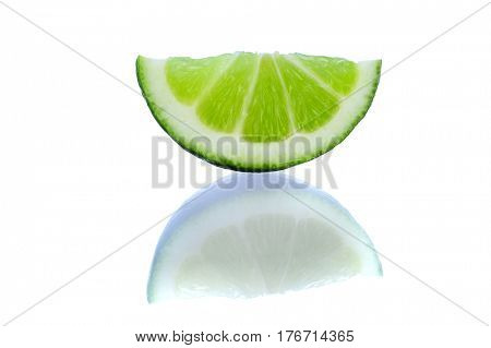 Close-up image of lime slice with shadow studio isolated on white background