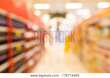 Abstract blur supermarket in department store