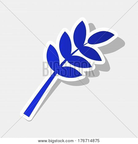 Tree branch sign. Vector. New year bluish icon with outside stroke and gray shadow on light gray background.