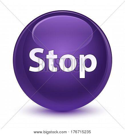 Stop Glassy Purple Round Button