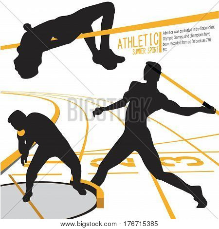 Athletes Sports Action illustration vector design symbol