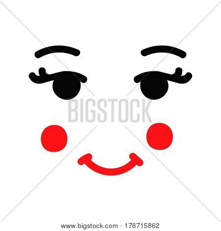 Matryoshka russian doll face on white background. Black and red vector illustration. Eyes, cheeks and lips.