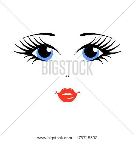 Matryoshka russian doll face on white background. Vector illustration. Blue eyes and pink lips.