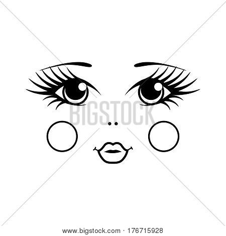 Matryoshka russian doll face on white background. Black and white vector illustration. Eyes cheeks and lips.