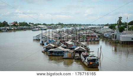 Floating Village In Mekong Delta, Vietnam