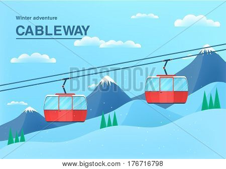 Cable car illustration with place for text, Funicular railway banner. cableway in the mountains.