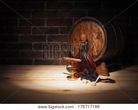 Glass Of Cognac , Cigar And Old Oak Barrel