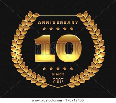 Ten years anniversary banner. 10th anniversary logo. Vector illustration.