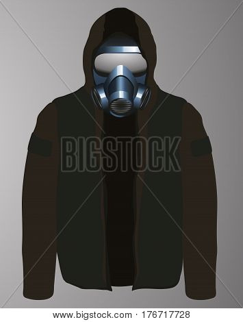 Man Wearing A Gas Mask And Hoodie Icon
