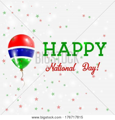 Gambia National Day Patriotic Poster. Flying Rubber Balloon In Colors Of The Gambian Flag. Gambia Na