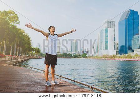 Man enjoying the fresh air in public park.