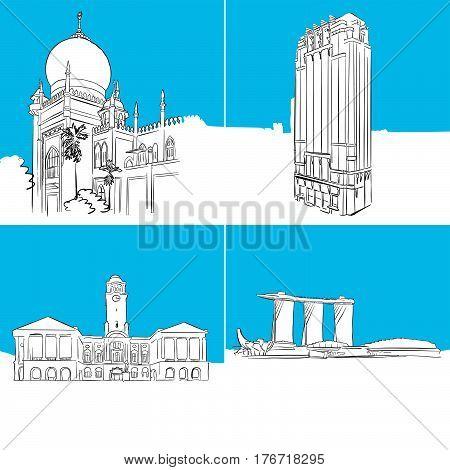 Singapore Famous Buildings Vector Sketches