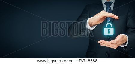 Security services and protection concept. Login sign in concepts. Businessman offer padlock symbol of security.