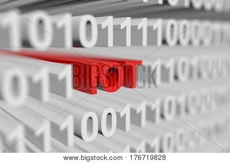 IOT in the form of a binary code with blurred background 3d illustration