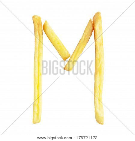 Letter M symbol is made of the same fries. Alphabet of French fries. Isolate on white