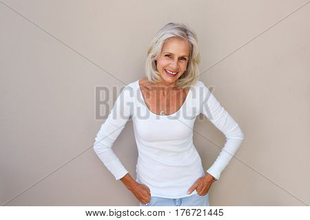 Beautiful Older Woman Standing And Smiling