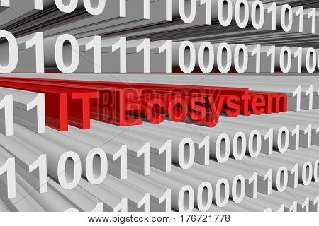IT Ecosystem is presented in the form of binary code 3d illustration