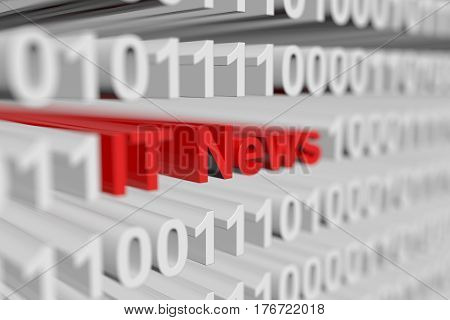 IT News in the form of a binary code with blurred background 3d illustration