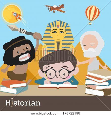 historian occupation vector cartoon character illustration design