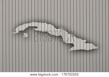 Map Of Cuba On Corrugated Iron