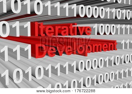 Iterative development is presented in the form of binary code 3d illustration