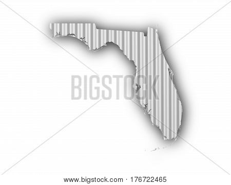 Map Of Florida On Corrugated Iron