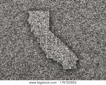 Map Of California On Poppy Seeds
