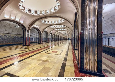 MOSCOW/ RUSSIA - MARCH 11, 2017. Metro station Mayakovskaya. Moscow, Russia
