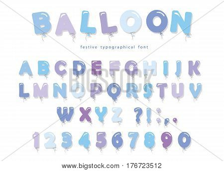 Balloon pink font. Cute ABC letters and numbers. For birthday, boy baby shower. Vector EPS10.