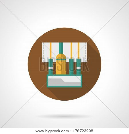 Abstract symbol of concert stage equipment. Audio sound mixer with connected wires. Round flat design vector icon.