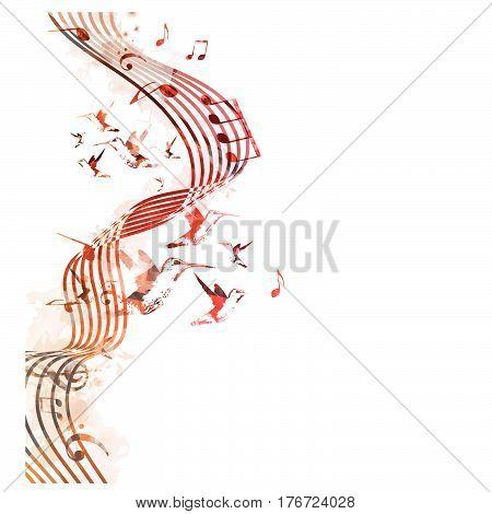 Colorful stave with music notes and hummingbirds isolated vector illustration. Music background for poster, brochure, banner, flyer, concert, music festival