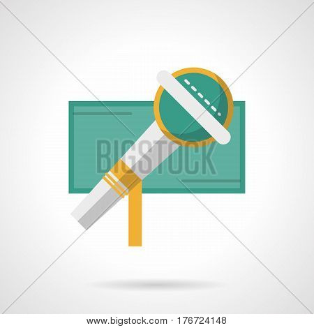 Modern microphone symbol. Element of live music concert, festival, vocal show or karaoke. Flat color style vector icon.
