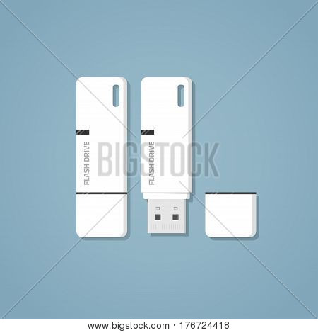 Open and closed white USB 3.0 flash drive with text and a mark on it on a blue background. Digital storage of information with an ear for the ribbon and a separate cap. Realistic flat style vector.
