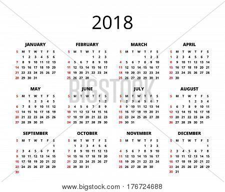 2018 year Calendar. Horizontal album orientation vector template of pocket calendar grid. Black and white mock up calendar. Week Starts Sunday. Vector illustration. EPS 10