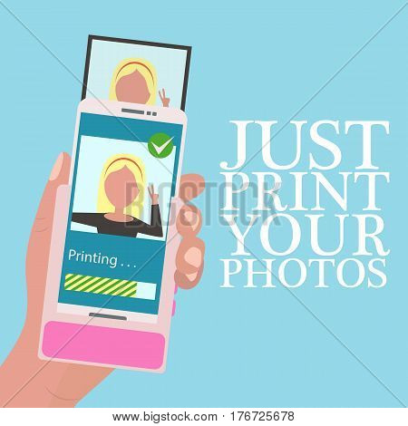 Hand holding mobile phone with portable printer for mobile phone in flat design style. Quick instant photo printing. Vector illustration