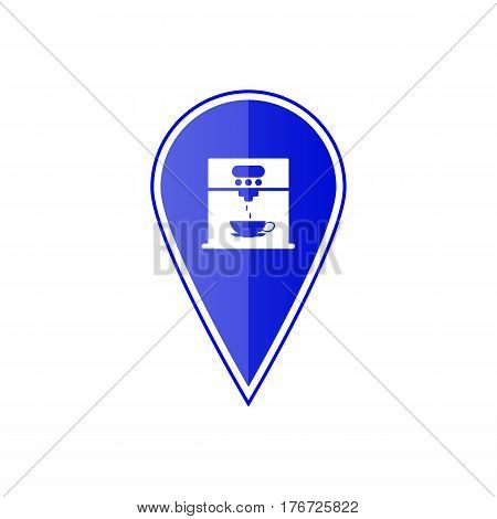 Blue map pointer with coffee maker machine on the white background. Vector design
