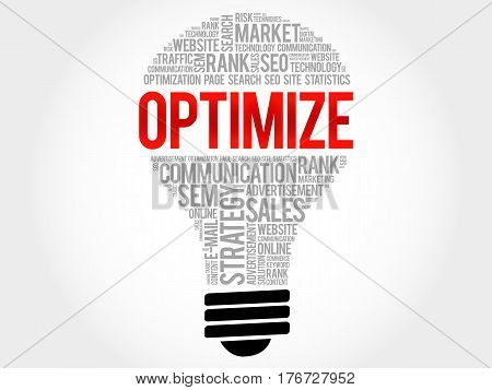 OPTIMIZE bulb word cloud collage, business concept background
