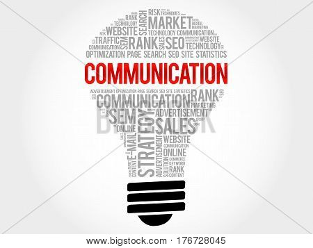 Communication Bulb Word Cloud Collage