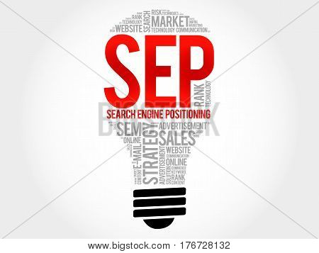 Sep (search Engine Positioning) Bulb Word Cloud Collage