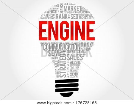 Engine Bulb Word Cloud Collage