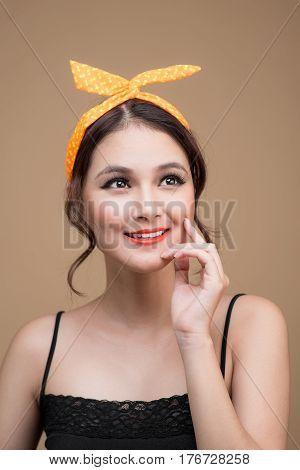 Beautiful Woman Pinup Style Portrait. Asian Woman.