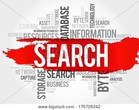 SEARCH word cloud collage, technology business concept background