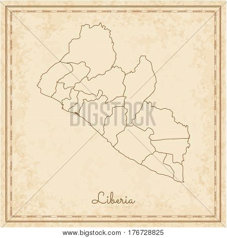 Liberia Region Map: Stilyzed Old Pirate Parchment Imitation. Detailed Map Of Liberia Regions. Vector