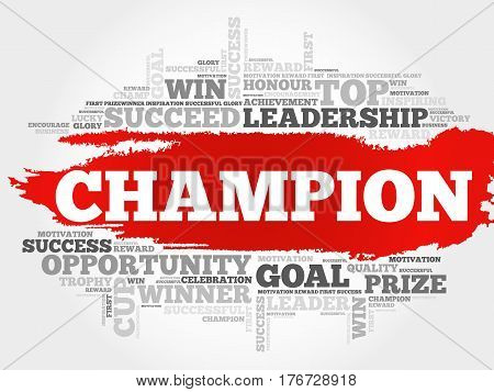 Champion word cloud collage , business concept