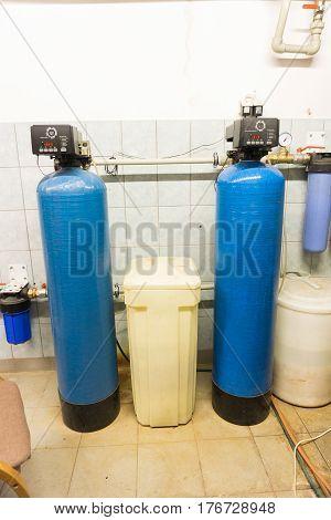 water treatment station. Industrial installation. specialist interior