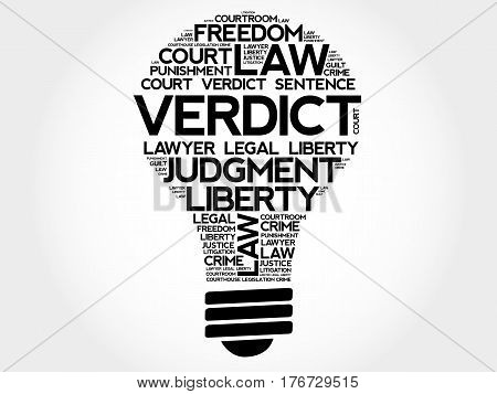Verdict Bulb Word Cloud Collage