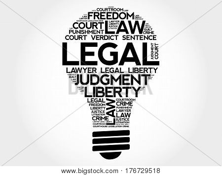 Legal Bulb Word Cloud Collage