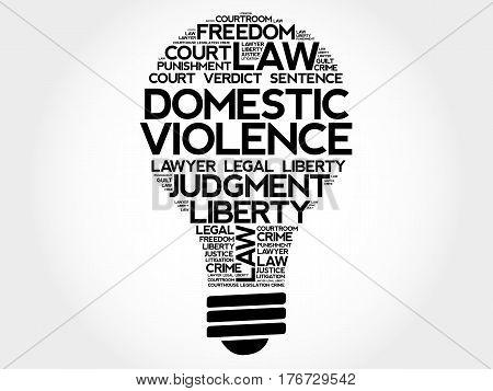 Domestic Violence bulb word cloud , social concept