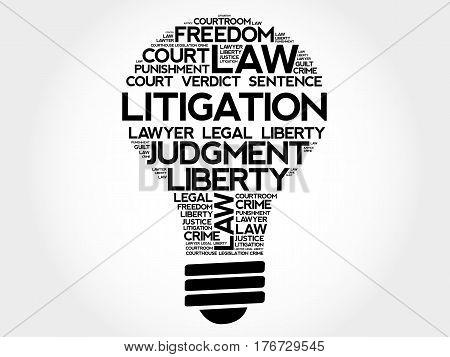Litigation bulb word cloud collage, business concept background