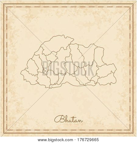 Bhutan Region Map: Stilyzed Old Pirate Parchment Imitation. Detailed Map Of Bhutan Regions. Vector I